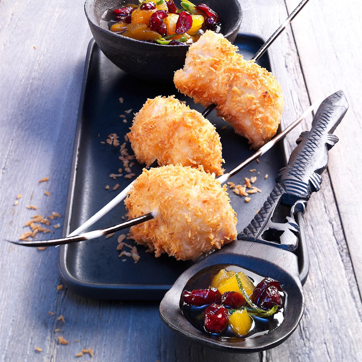 Brocheta de pollo, coco y arándanos -SurExport